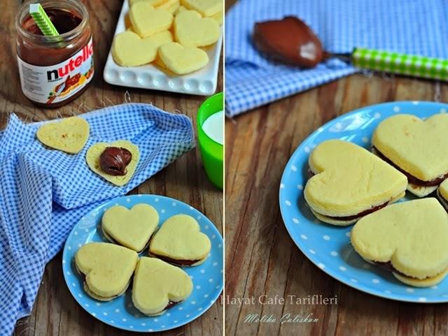 arasına nutella sürülen kurabiye